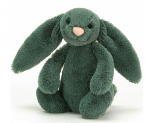 Otroška plišasta igračka zajček v zeleni barvi.